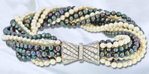 Black and White Pearl Torsade Bracelet ''''