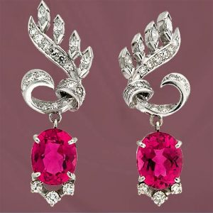 950's Platinum Earrings Set with Diamonds and Rubelitte Tourmalines.
