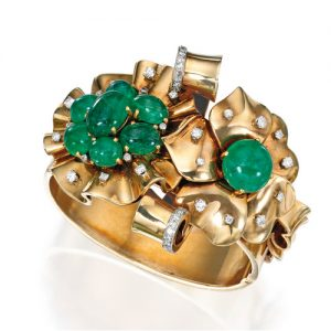 "Trabert & Hoeffer-Mauboussin ""Reflection"" Emerald Bracelet. c.1940."