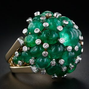 Trabert & Hoeffer - Mauboussin Retro Emerald Cocktail Ring