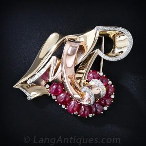 "Trabert & Hoeffer-Mauboussin Reflection ""L M R"" Ruby Brooch."