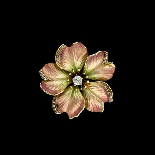 Art Nouveau Flower Pin with Translucent Enamel.