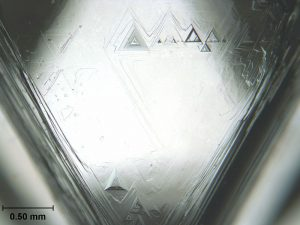 Trigons on the Face of a Natural Diamond. Photo Courtesy of Gump Stump, Wikipedia.