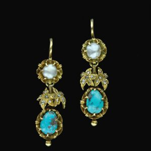 Turquoise, Pearl and Gold Earrings.