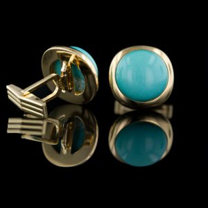 Turquoise, 14K Yellow Gold Cuff Links.