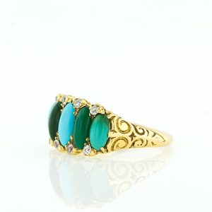 This Victorian Era Ring Displays an Array of Varied Color Turquoise.