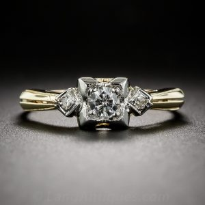 1940s Engagement Ring with an Art Deco Retrospective Design.