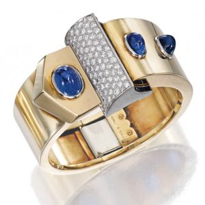 Retro Udall & Ballou Cuff Bracelet with Cabochon and Calibré-cut Sapphires.