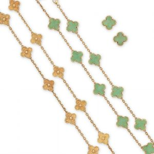 "Van Cleef & Arpels Collection of ""Alhambra"" Jewelry. Photo Courtesy of Christie's."