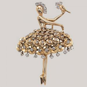 "Van Cleef & Arpels ""Ballerina"" Brooch In gold and Diamonds, c.1954. Photo Courtesy of Christie's."