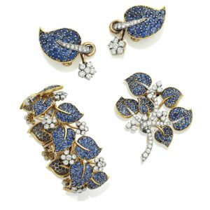 Van Cleef & Arpels Floral and Foliate Motif Sapphire and Diamond Demi-Parure. Photo Courtesy of Christie's.