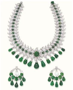Van Cleef & Arpels Columbian Emerald and Diamond Necklace and Earrings, c.1950.