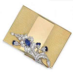Van Cleef & Arpels Sapphire and Diamond Floral and Foliate Motif Case. Photo Courtesy of Christie's.