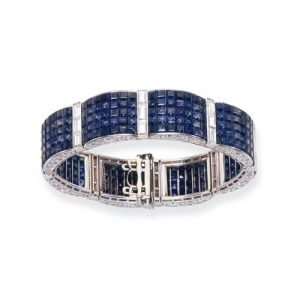 Van Cleef & Arpels Serti Mysterieux Sapphire and Diamond Bracelet. Photo Courtesy of Christie's.