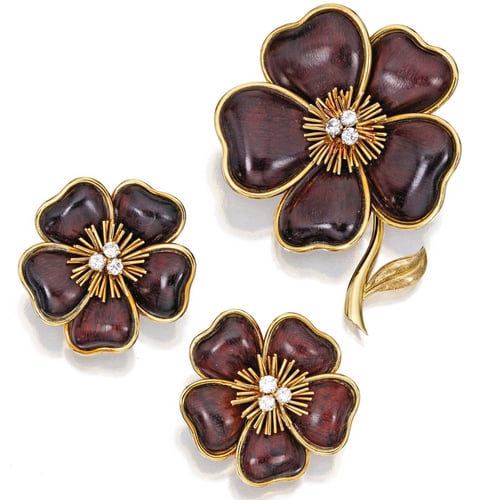 Van Cleef Diamond and Wood Clematis Brooch and Earrings.jpg