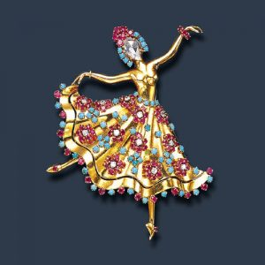 Van Cleef-&-Arpels Ballerina Brooch c.1944. Signed and numbered.