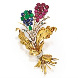 Retro Van Cleef & Arpels Multi-Stone Flower Brooch.