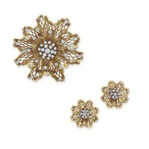 Van Cleef & Arpels Openwork Diamond-Set Floral Motif Earrclips and Brooch Motif Demi-Parure. c.1945.