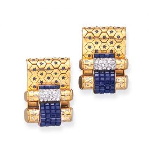 Pair of Retro Van Cleef & Arpels Invisibly-Set Sapphire and Diamond Clip Broochs.