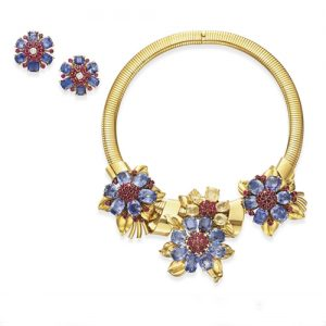 Van Cleef & Arpels Retro Colored Sapphire and Ruby Necklace.