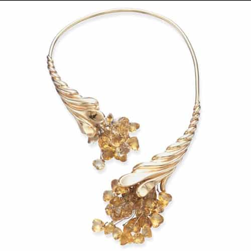 Vedura Retro Gold Citrine Cornucopia Necklace.jpg