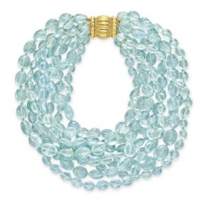 Aquamarine Bead Necklace with Gold Clasp, Verdura. Photo Courtesy of Christie's.
