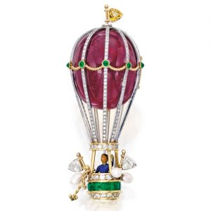 Enamel, Red Spinel, Diamond and Pearl Hot Air Balloon Brooch, Verdura. Photo Courtesy of Sotheby's.