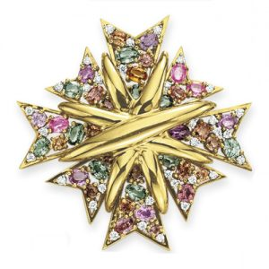 Maltese Cross Brooch set with Colored Gemstones, Verdura. Photo Courtesy of Christie's.