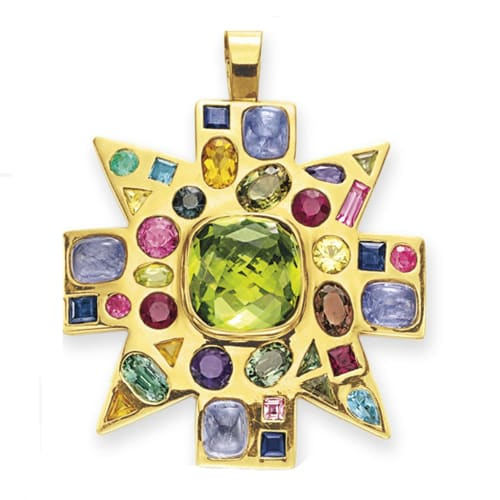Maltese Cross Brooch With Central Peridot and Colored Gemstones, Verdura. Photo Courtesy of Christie's.