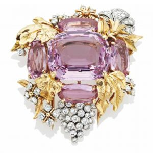 Pink Topaz Flora and Fauna Motif Clip Brooch, Verdura. Photo Courtesy of Christie's