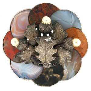 Victorian Agate and Silver Scottish Brooch.