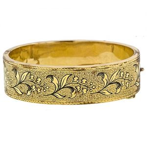 Victorian Bangle Bracelet with Tracery Enamel. Courtesy of Lang Antiques.