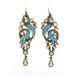 "Victorian Diamond Earrings with Blue Enamel ""Ribbon"" Motif."