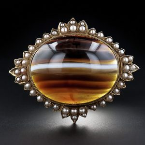Banded Agate and Seed Pearl Victorian Brooch.