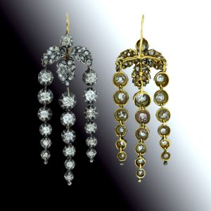 Silver Over Gold Diamond Chandelier Earrings Mid 19th Century Courtesy of Lang Antiques.