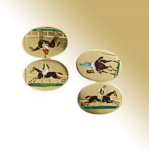 Vintage Enamel, Yellow Gold Horse Racing Cuff Links.