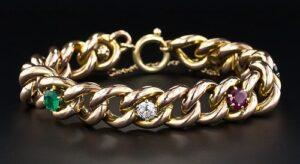 Victorian Multi-Stone Curb Chain Bracelet.