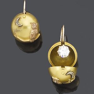 "Victorian Day and Night ""Carriage Cover"" Diamond Earrings - Diamonds Concealed Within a Gold Ball for Daytime (and Travel) Worn Without the Cover for Evening."