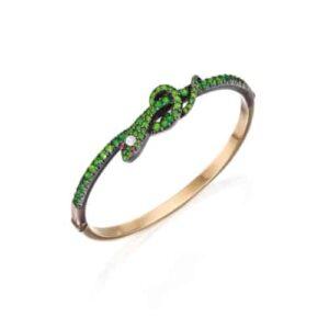 Victorian Demantoid Garnet Snake Bracelet. c.1880.