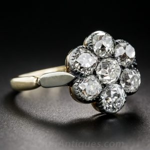 Victorian Diamond and Silver-Topped Gold Cluster Engagement Ring.