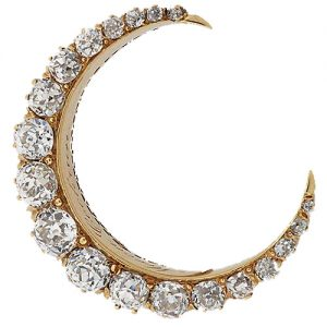 Victorian Diamond Crescent Brooch.
