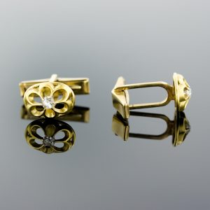 Victorian Diamond, 18K Yellow Gold Cuff Links.
