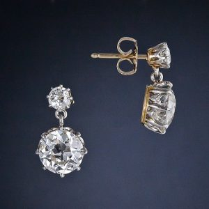 Victorian Diamond Drop Earrings. Circa 1890.