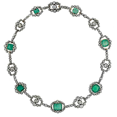 Victorian Emerald and Diamond Necklace.