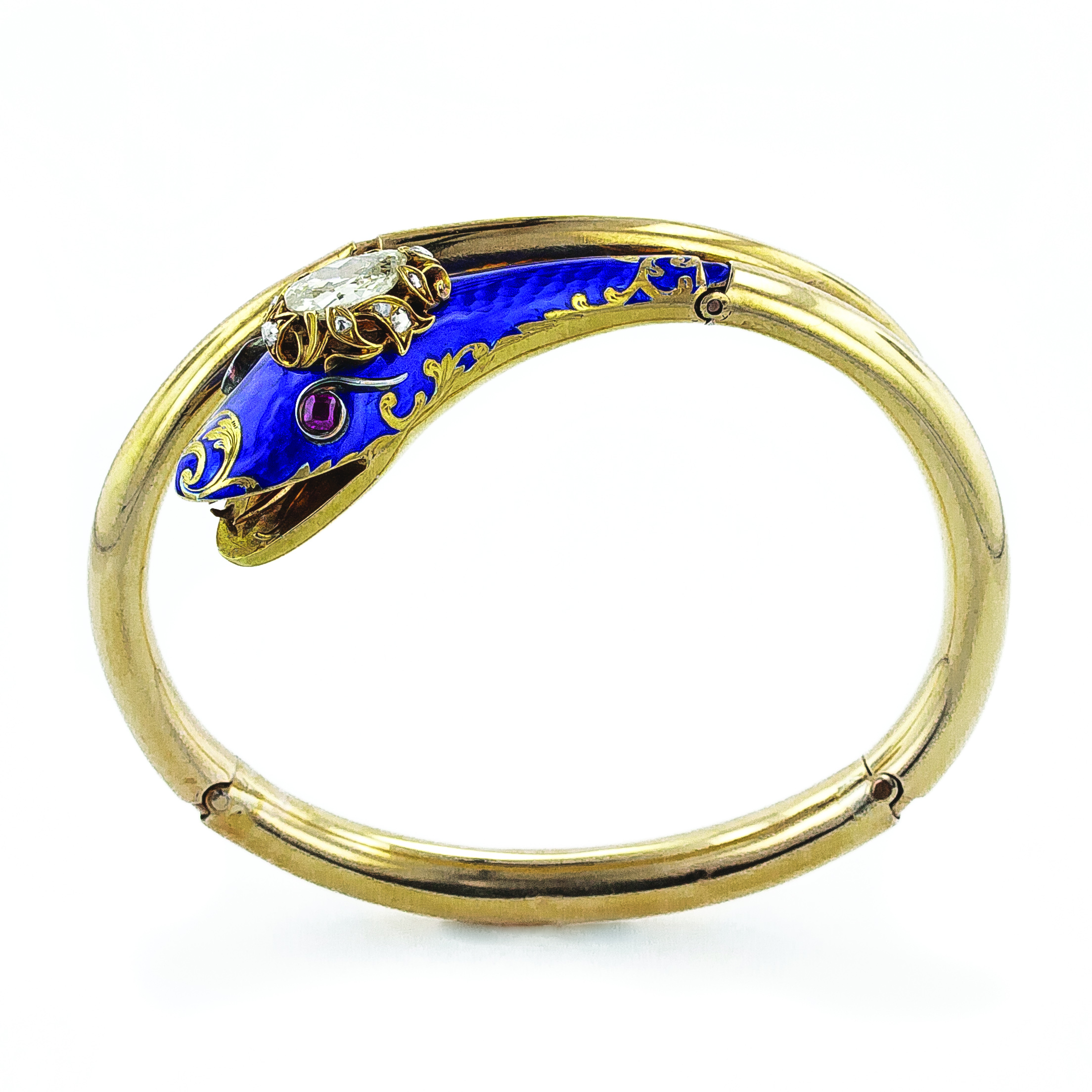 Victorian Diamond and Enamel Serpent Bracelet.jpg