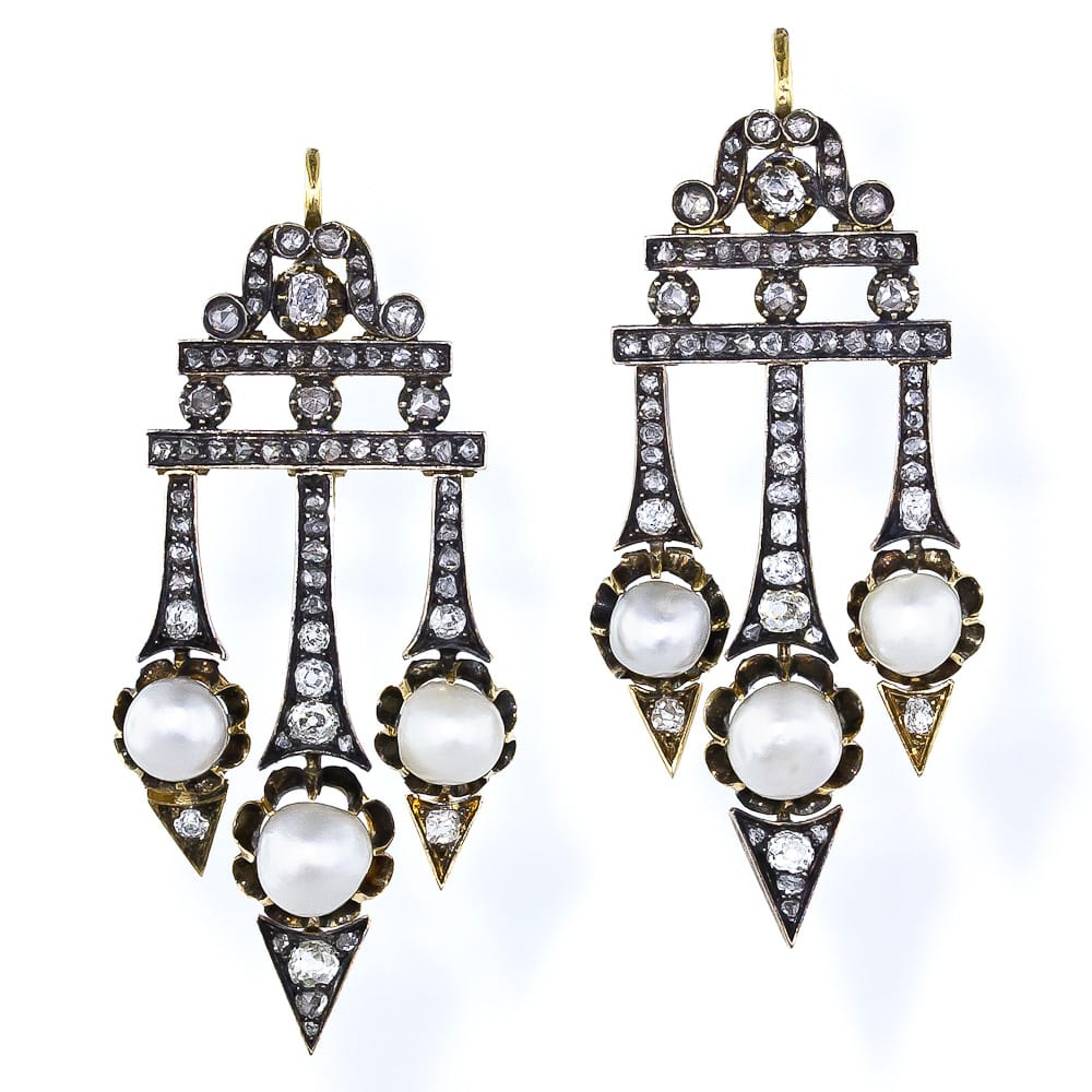Victorian Diamond and Natural Pearl Earrings.jpg