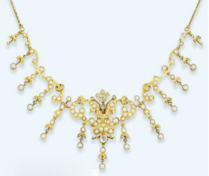 Late Victorian Diamond and Half Pearl Fringe Necklace.