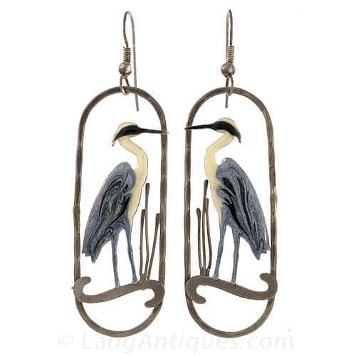 Victorian Enamel Heron Earrings.jpg