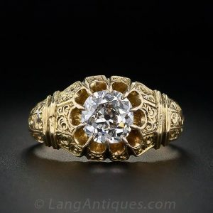 Victorian Cushion-Cut Diamond Engraved Engagement Ring.