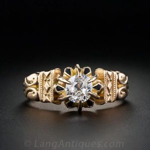 Victorian Diamond Sculpted Engagement Ring with Black Enamel.